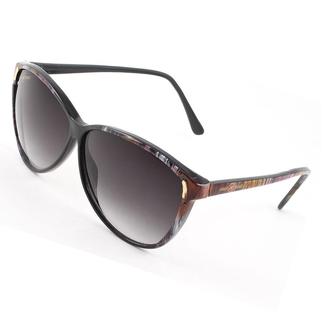 Woman Ladies Multicolor Mini Stripe Arm Black Lenses Full Rim Sunglasses