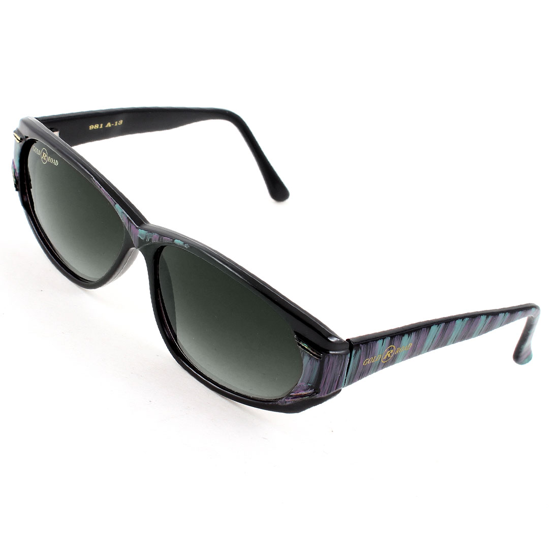 Woman Lady Single Bridge Green Purple Striped Arms Black Lens Sunglasses Glasses