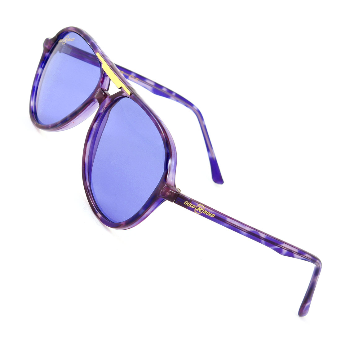 Woman Double Bridge Leopard Print Blue Purple Arms Full Rim Sunglasses Glasses