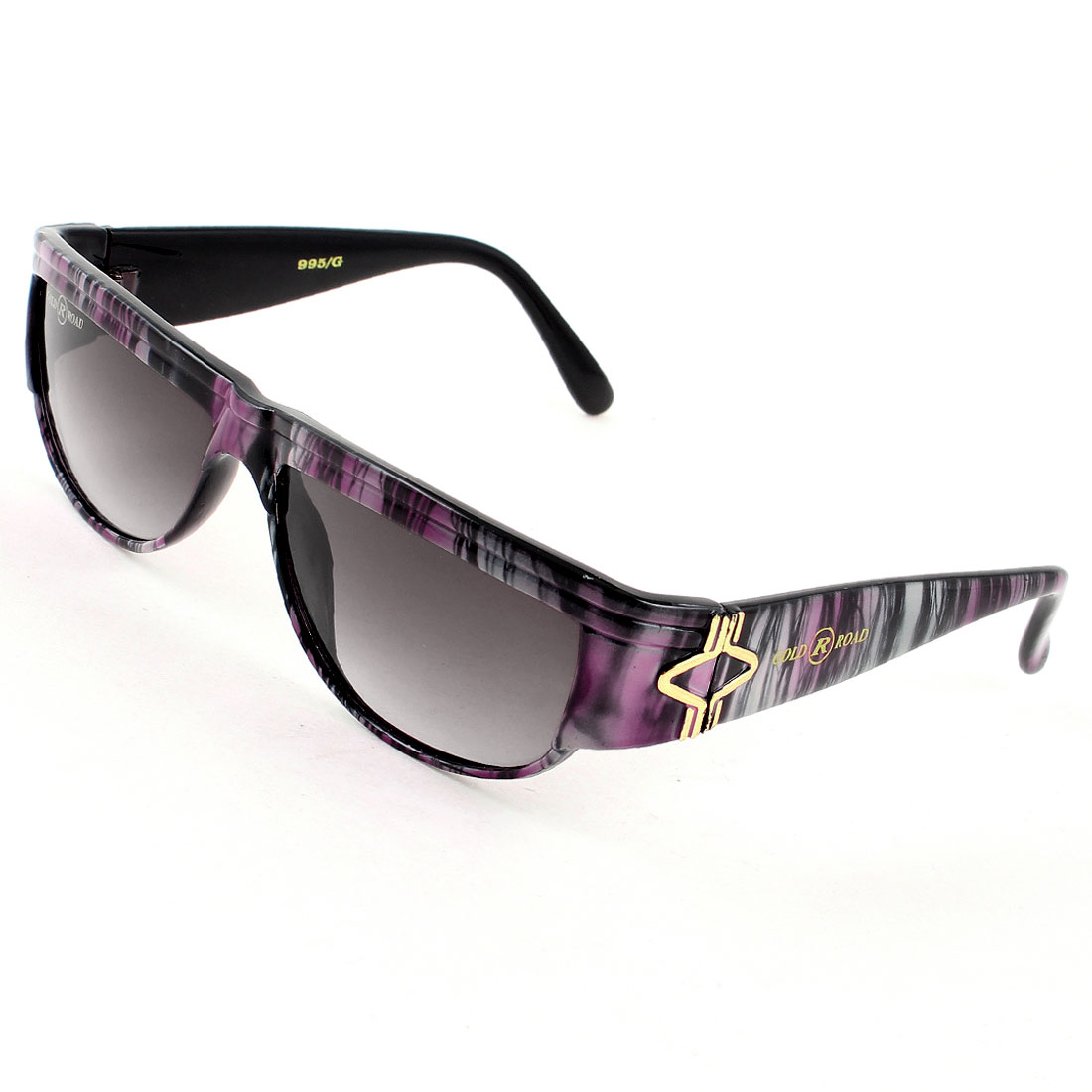 Ladies Outdoor Dark Burgundy Lenses Gray Fuchsia Stripe Full Rim Arm Sunglasses