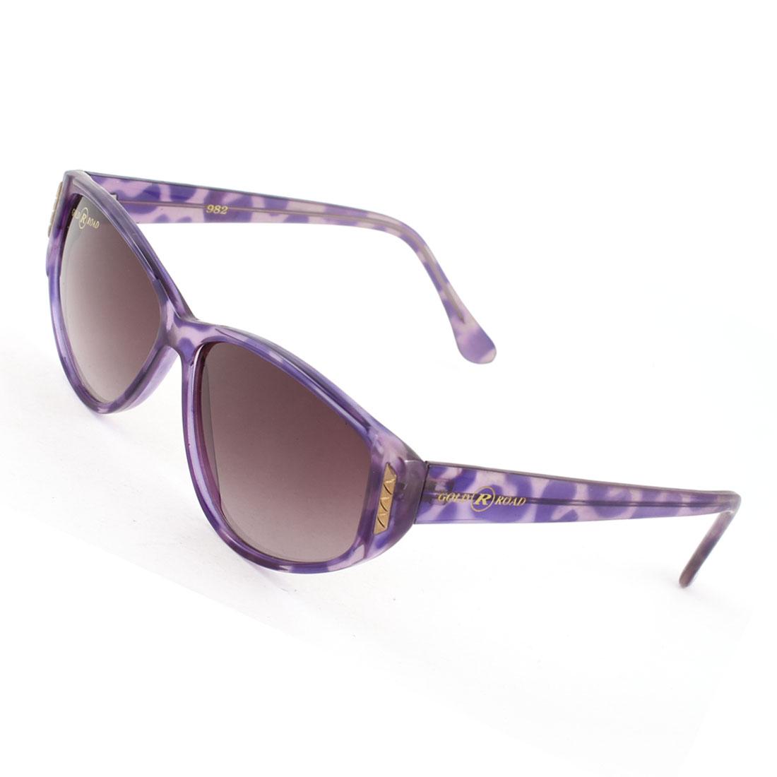 Lady Dark Burgundy Lenses Leopard Print Purple Full Rim One Bridge Sunglasses