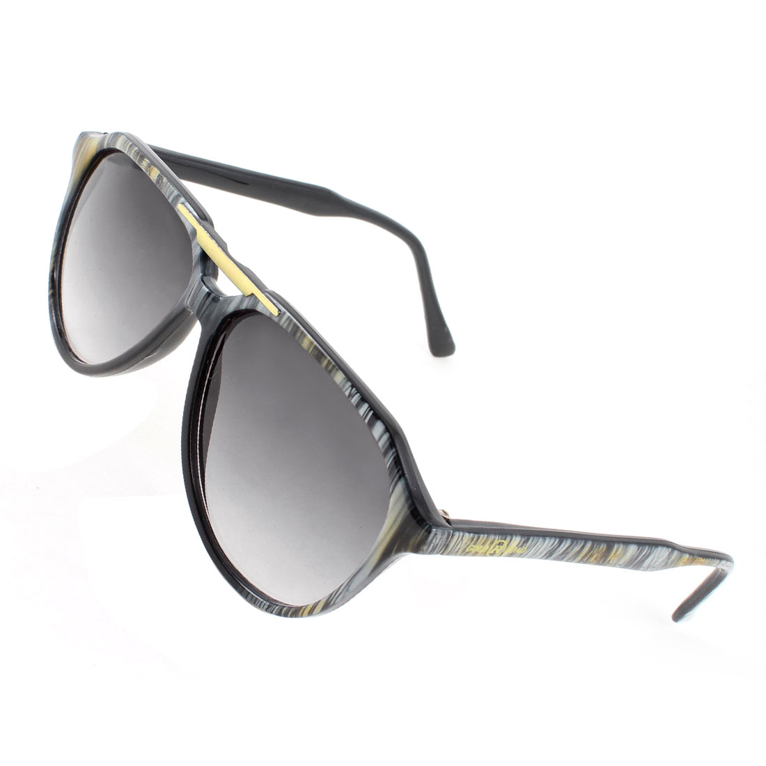 Outdoor Gray Black Stripe Arms Dual Bridge Full Rim Sunglasses for Lady Women