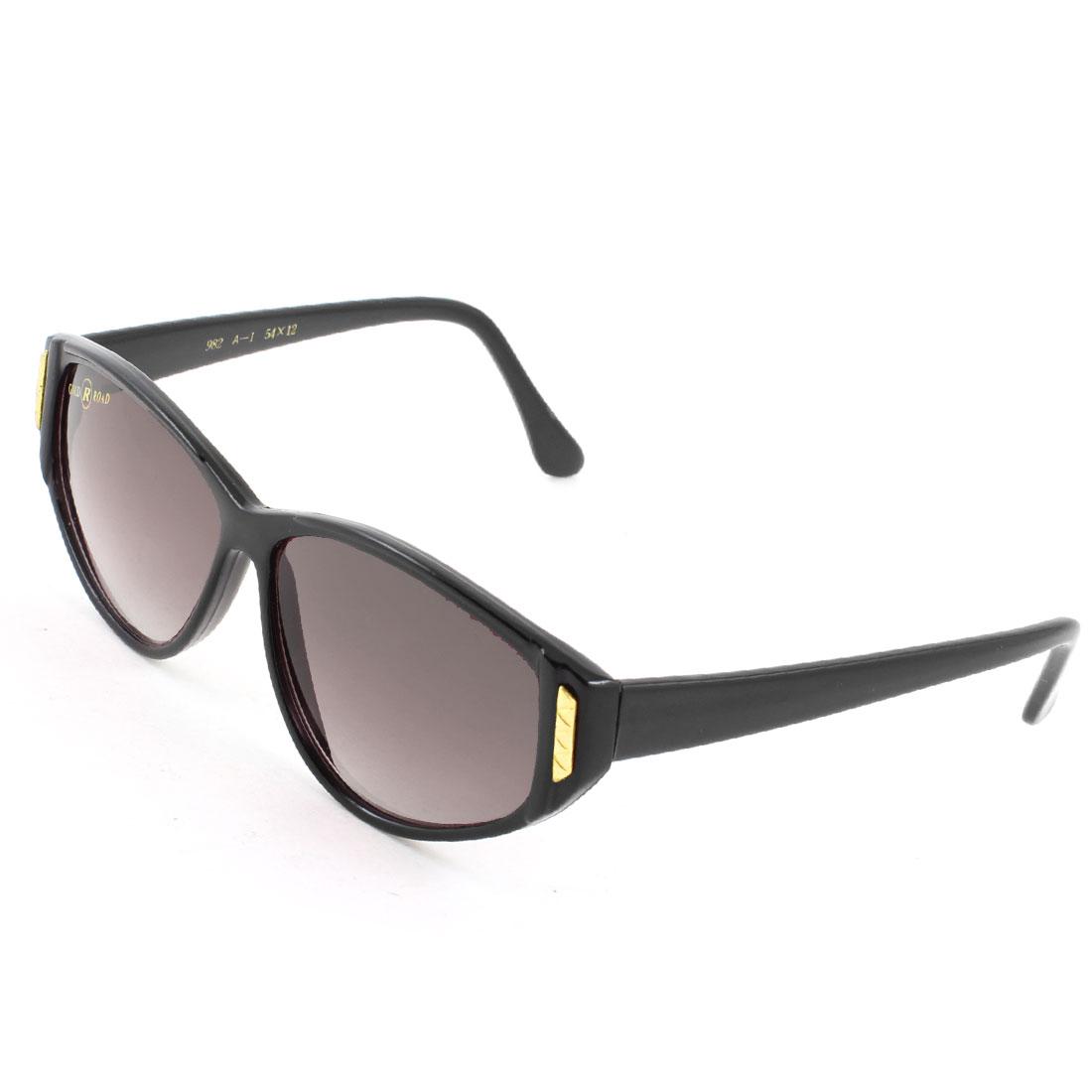 Women Lady One Bridge Dark Burgundy Lens Black Arms Full Rim Sunglasses Glasses