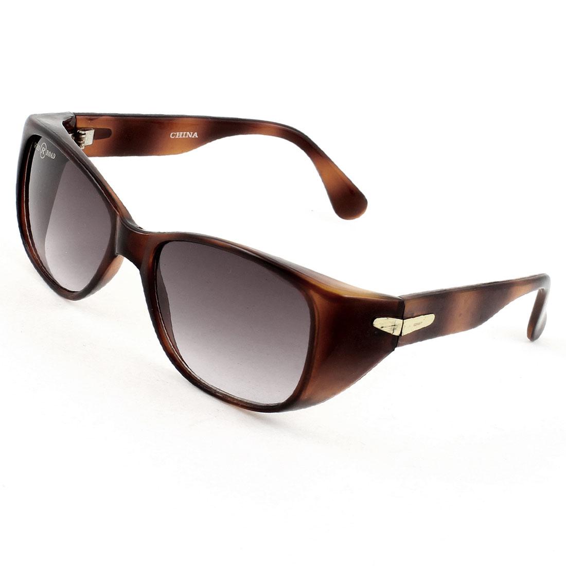 Lady Women Outdoor Dark Burgundy Lenses Chocolate Color Full Rim Arm Sunglasses
