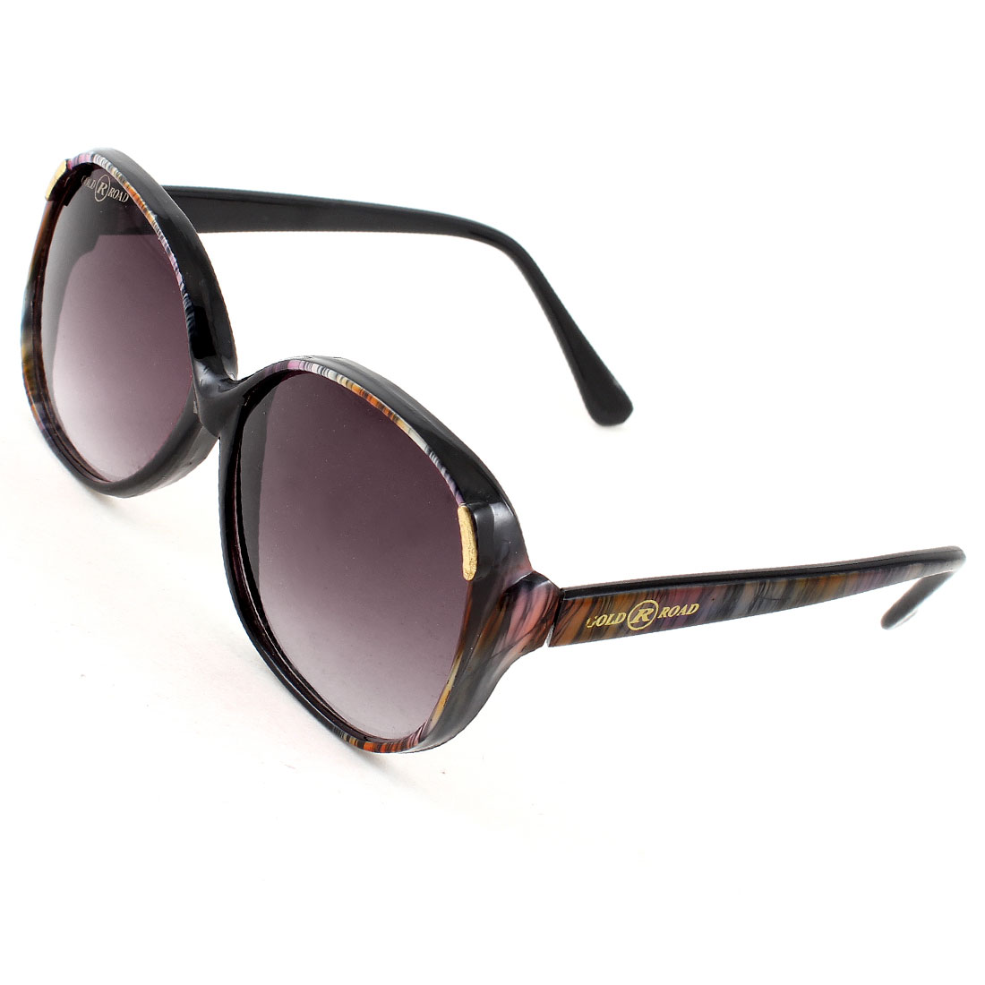 Single Bridge Dark Magenta Lens Striped Full Rim Sunglasses Glasses for Women