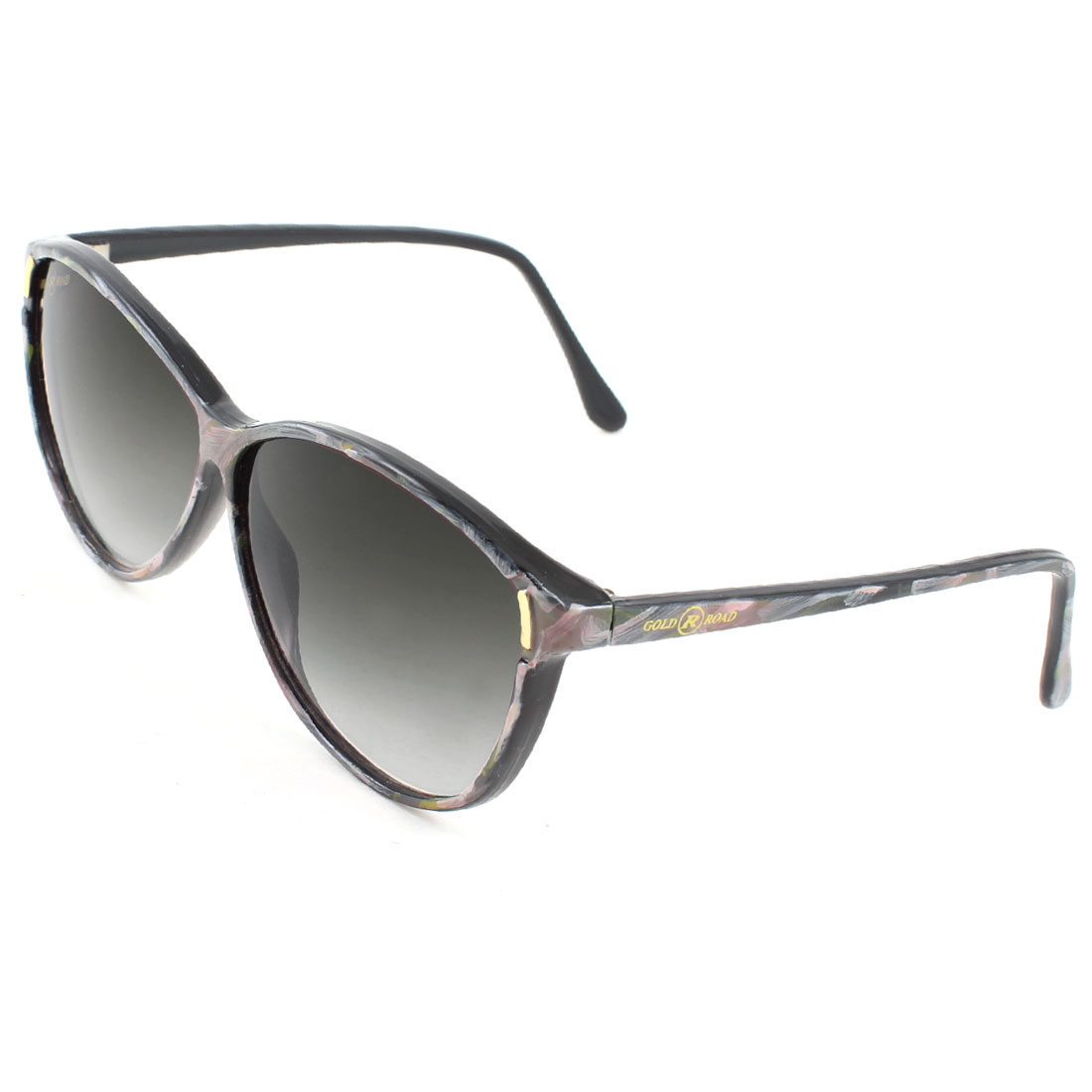 Gray Printed Arms Full Frame Black Lenses Plastic Sunglasses for Woman Lady
