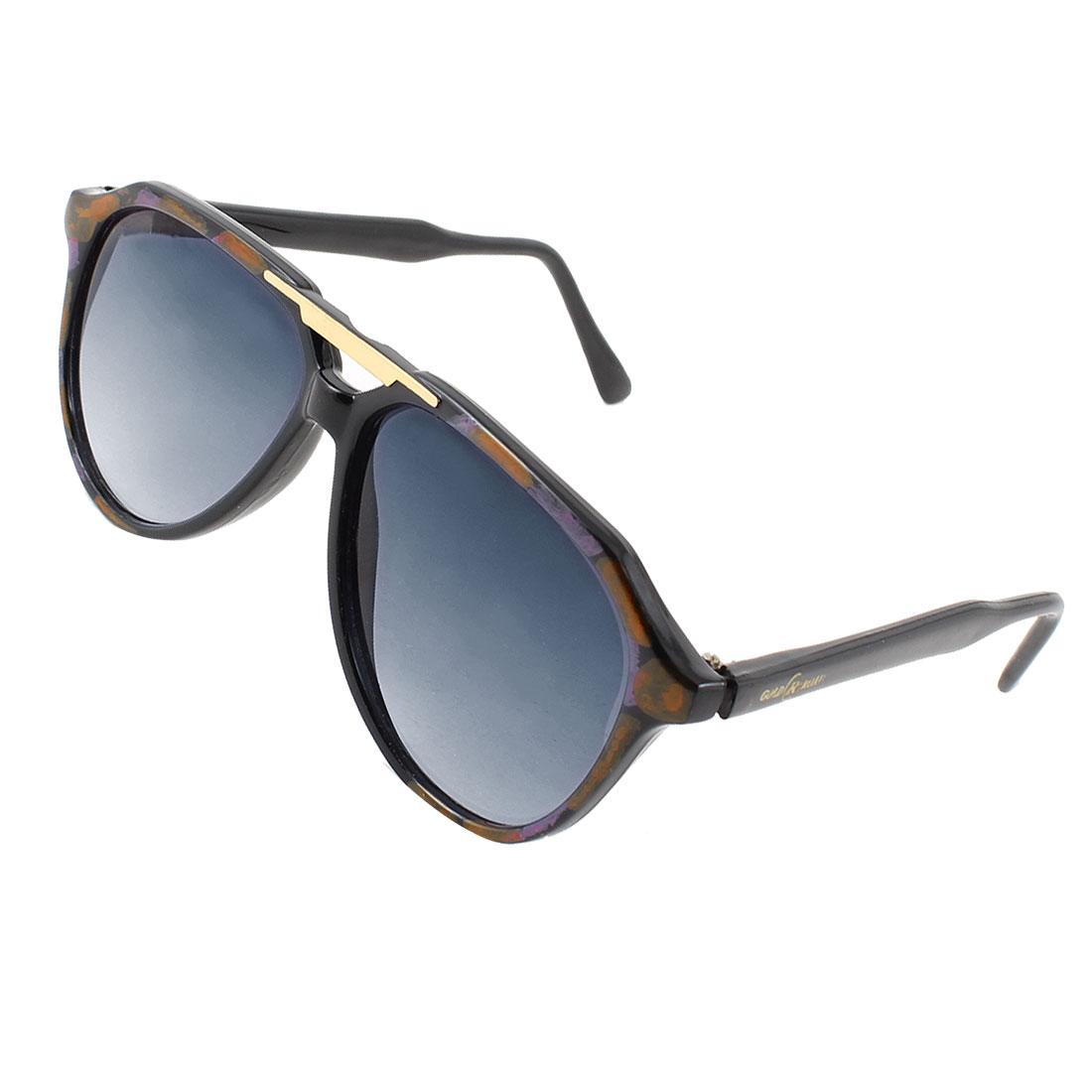 Lady Wayfarer Dark Blue Lenses Brown Full Rim Two Bridge Protecter Sunglasses