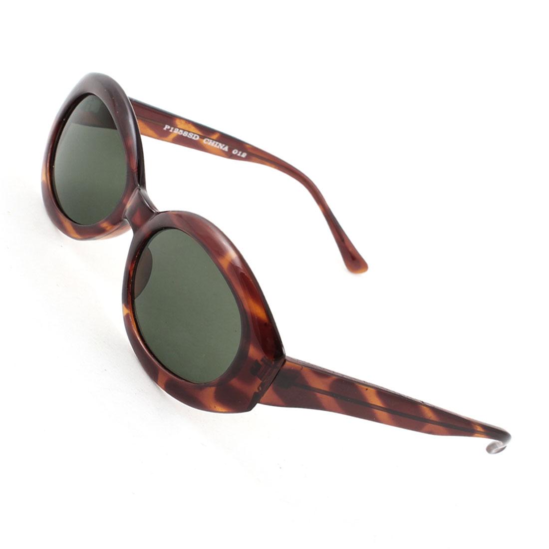 Women Lady Single Bridge Leopard Print Full Rim Dark Green Oval Lens Sunglasses