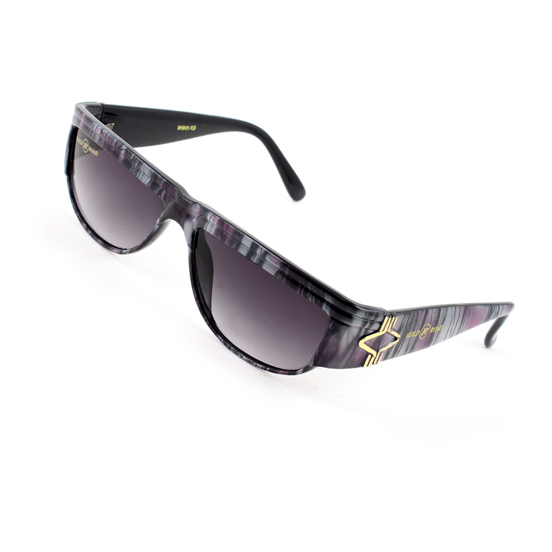 Woman One Bridge Gray Striping Full Frame Arms Dark Burgundy Lens Sunglasses