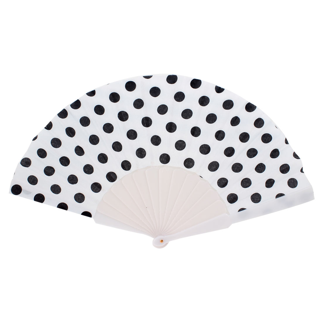 Black Dotted Print Plastic Fabric White Hand Folding Fan for Lady