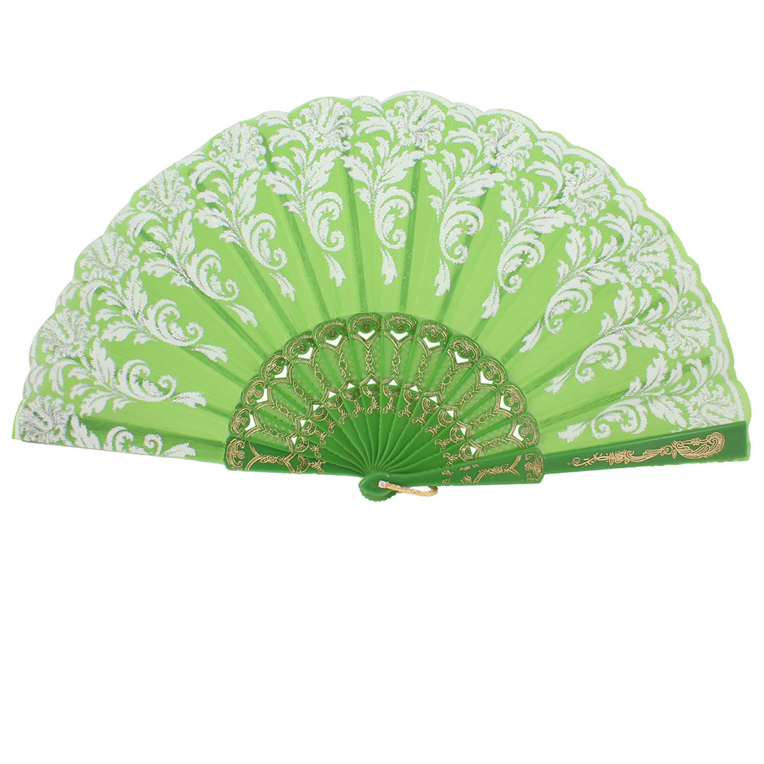 White Flower Glitter Powder Pattern Hollow Out Frame Green hand Folding Fan