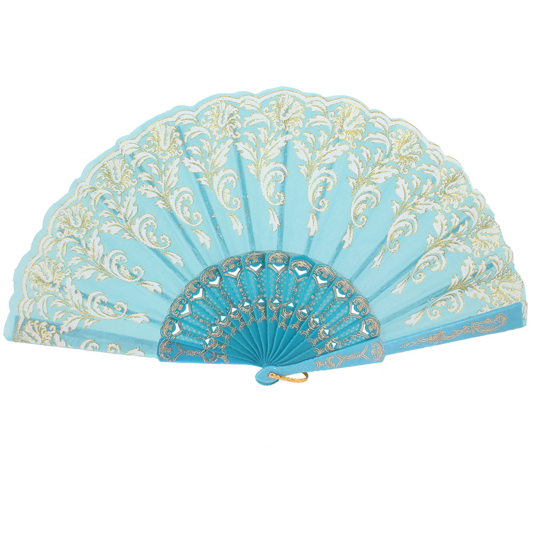 Chinese Characteristic Folding Hollow Out Frame Dodger Blue Hand Fan Portable