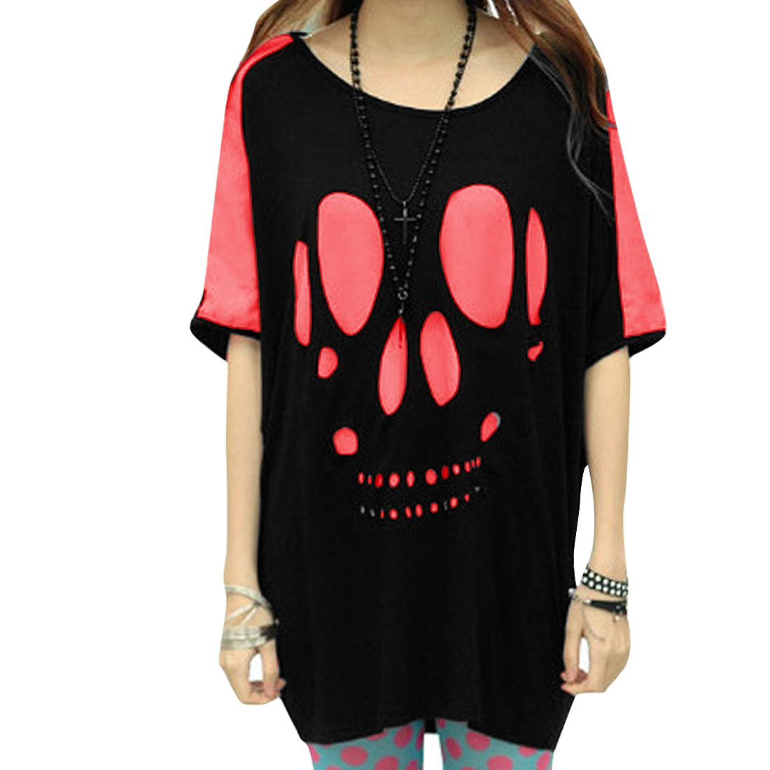 Lady Pullover Batwing Splice Color Detail Black Pink Loose Blouse M