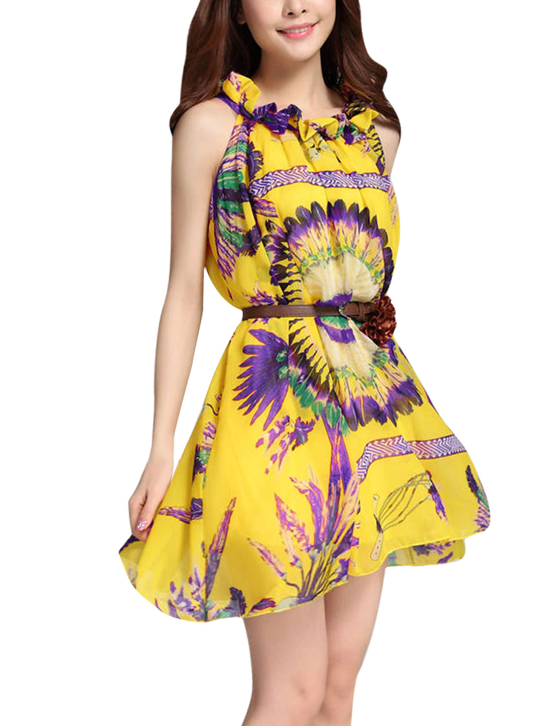 Lady Sleeveless Feather Prints Loose Belted Yellow Purple Dress M