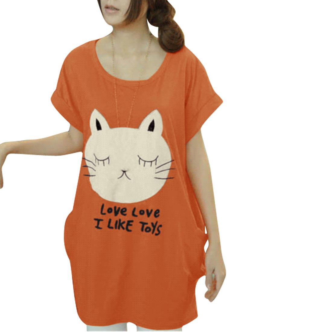 Ladies Short-sleeved Round Neck Slant Pockets Tunic Shirt Orange M