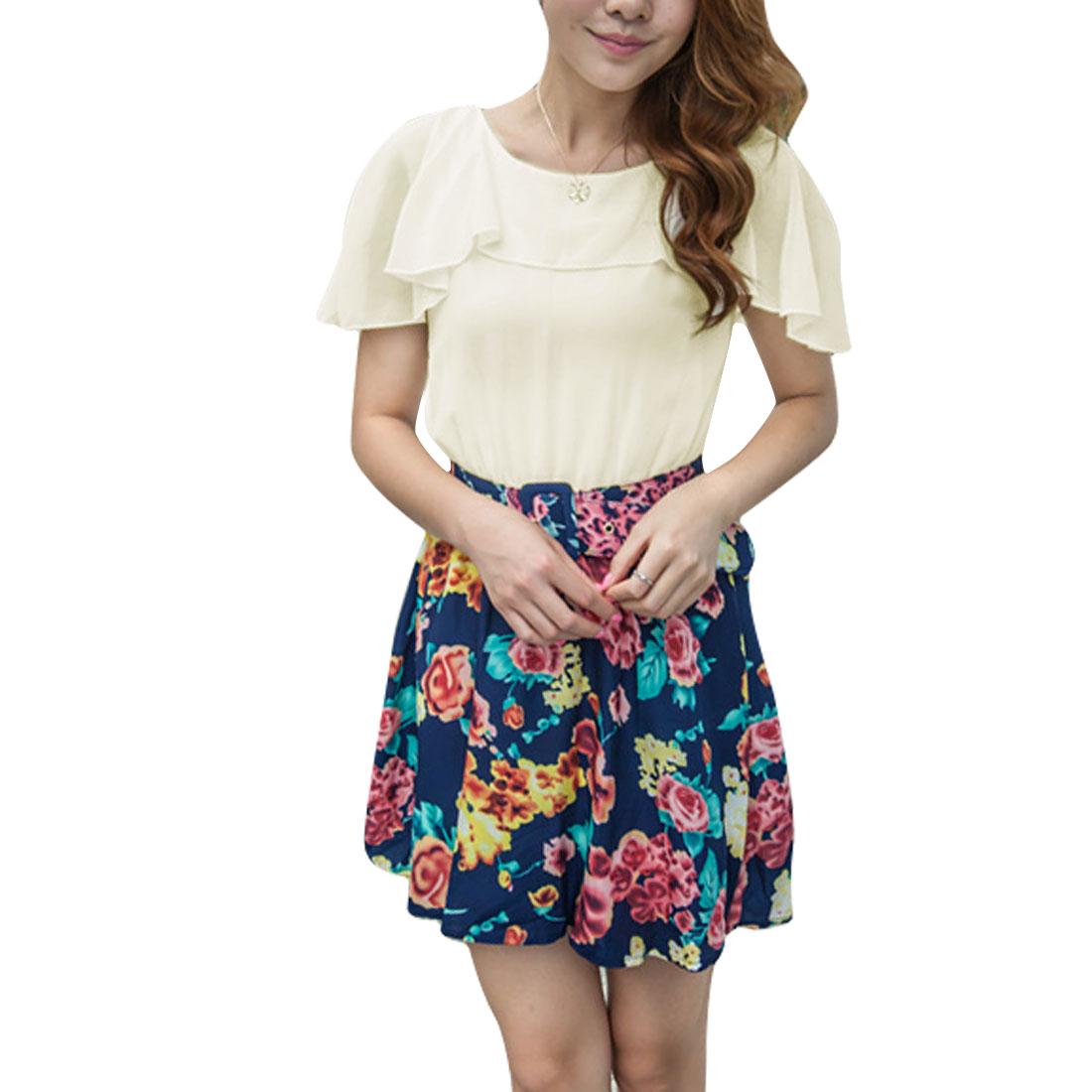 Lady Sleeveless Flower Pattern Lining Tunic Dress Off White Navy Blue XS