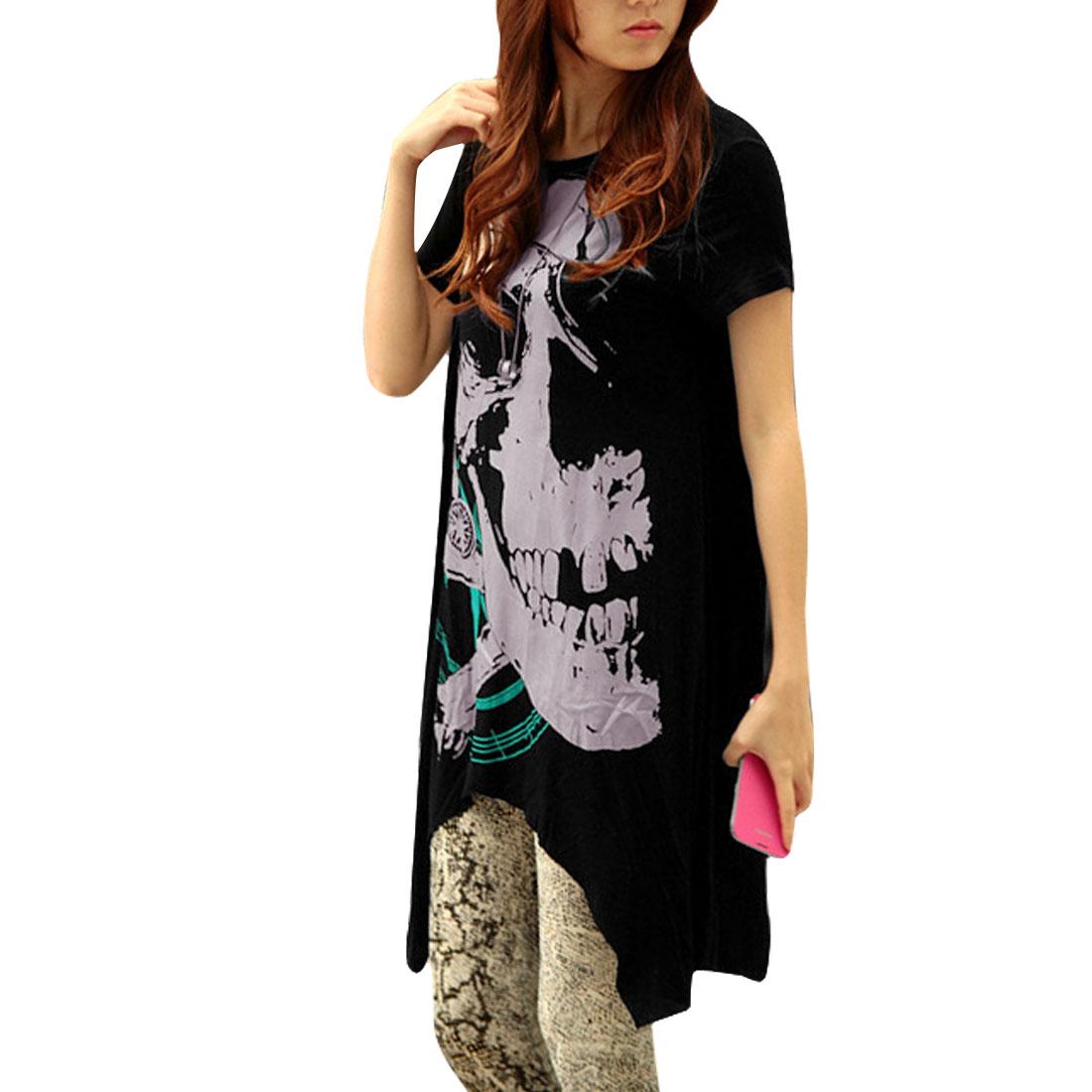 Lady Boat Neck Pullover Design Skull Prints Elastic Black Blouse S