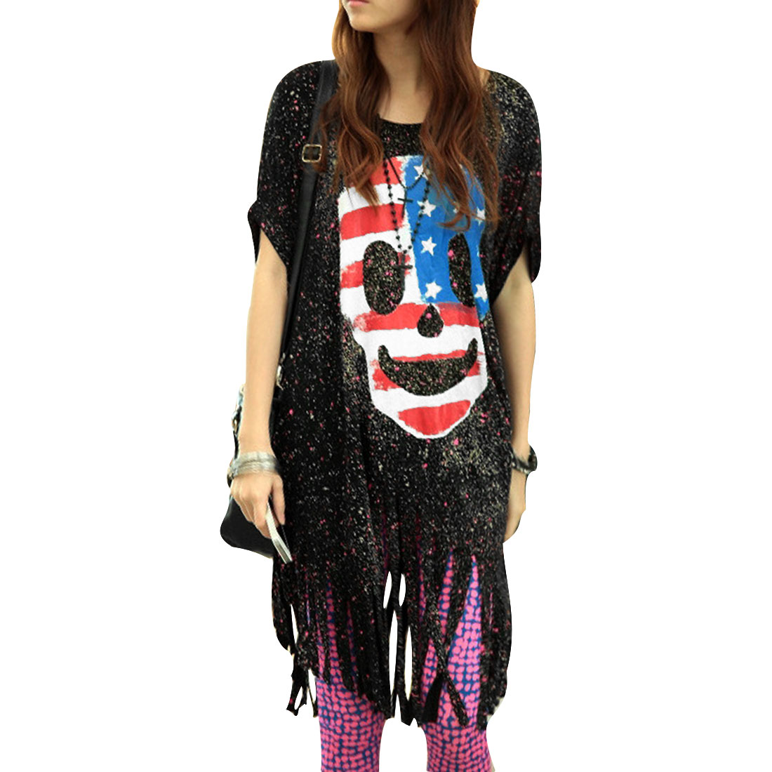 Women Round Neck Skull Pattern Batwing Sleeve Loose Tunic Shirt Black L