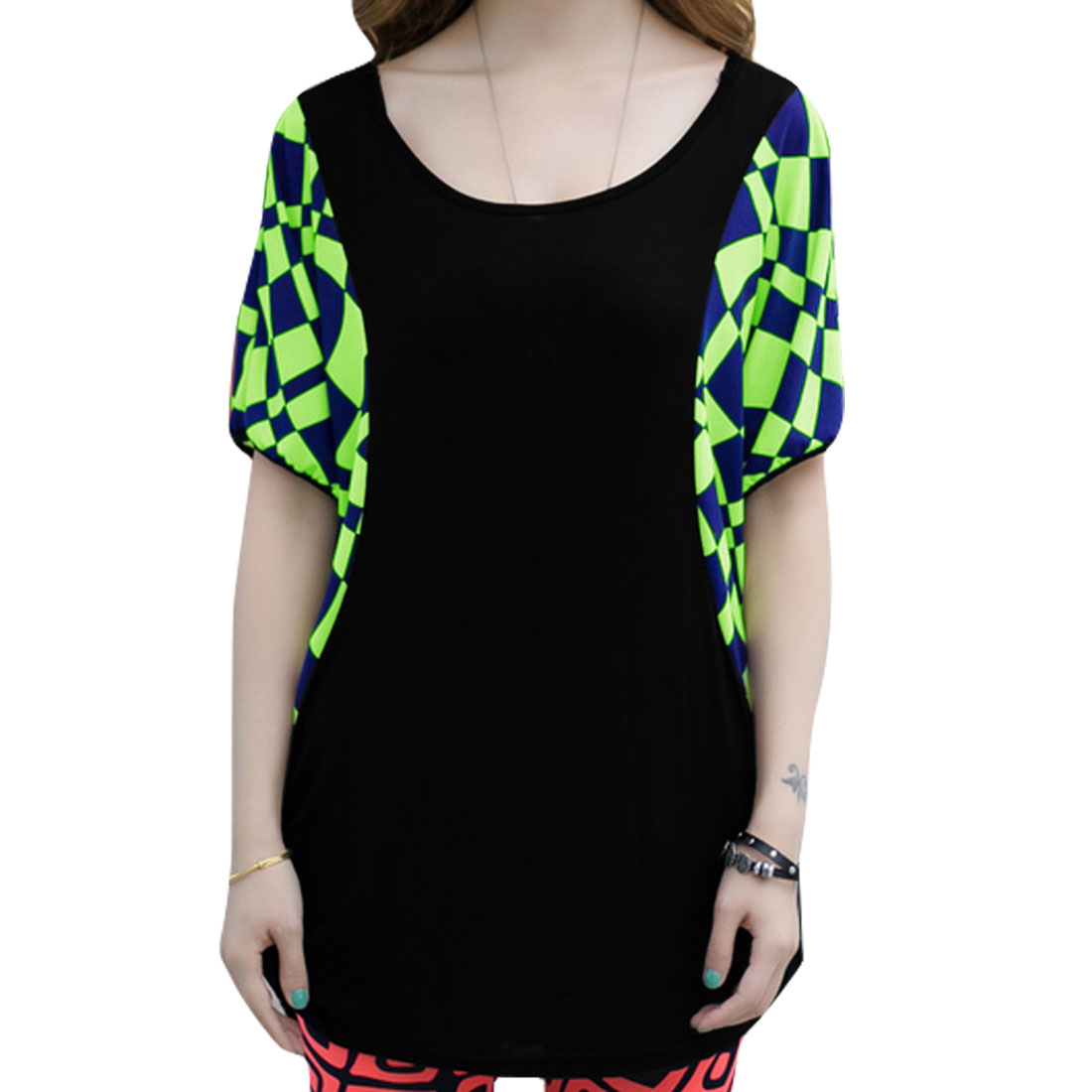 Ladies Short Sleeves Plaids Prints Splice Modern Tunic Shirt Lime M