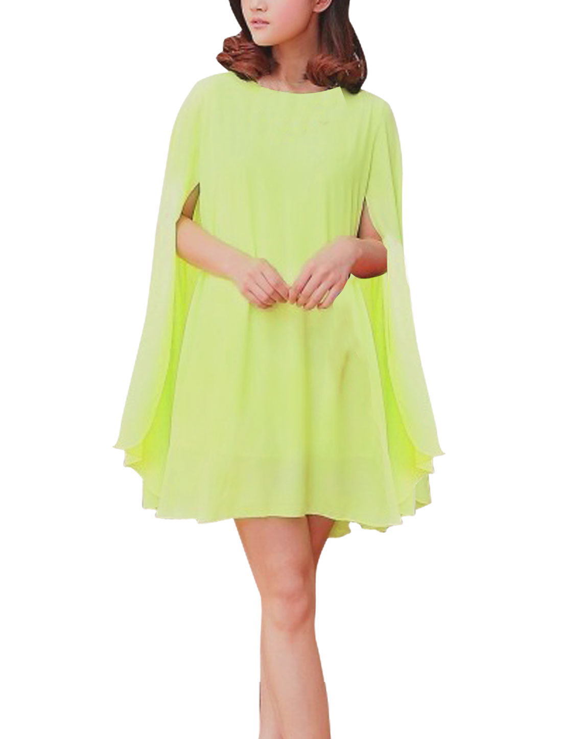 Ladies Round Neck Lining Casual Dress Light Moss S
