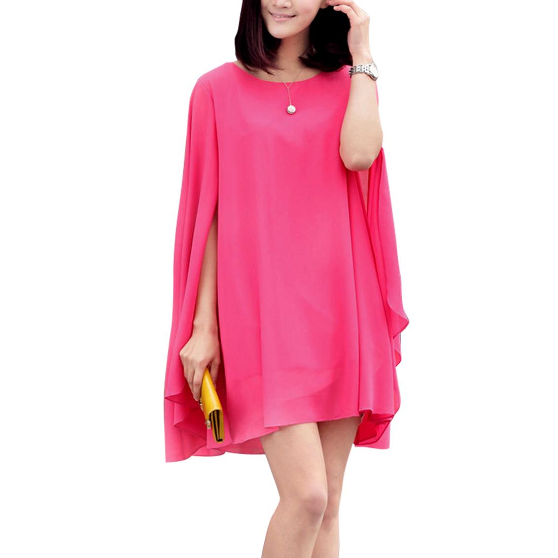 Ladies Round Neck Sleeveless Cape Design Dress Fuchsia S