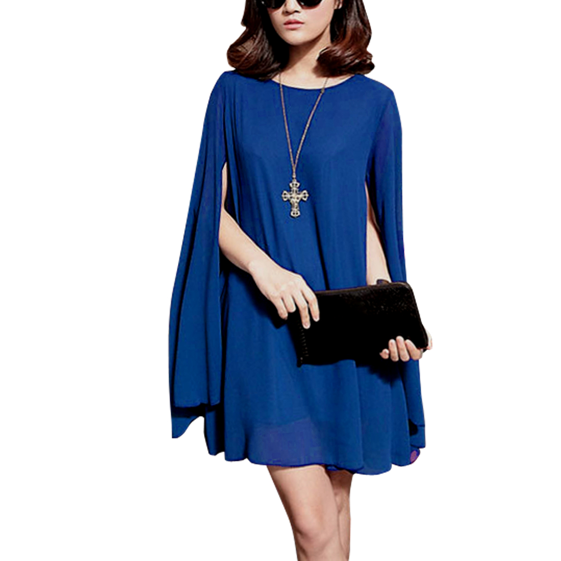 Ladies Pullover Sleeveless Splice Casual Dress Royal Blue S