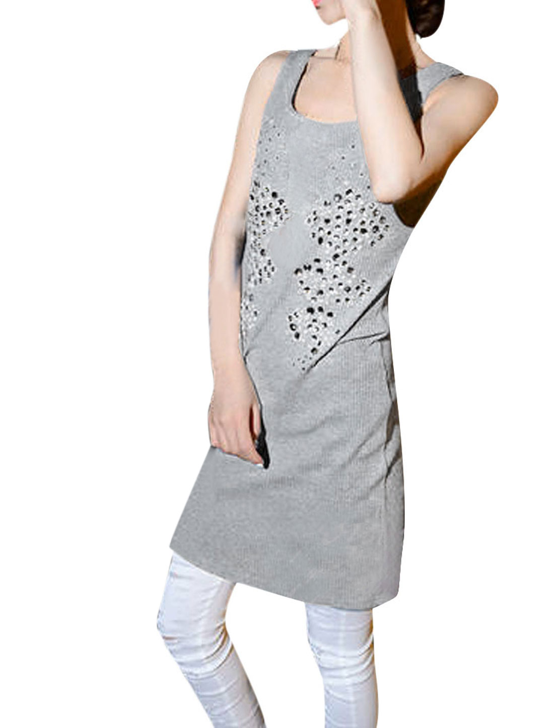 Woman Newly Plastic Crystal Decor Front Pure Light Gray Tank Mini Dress XS