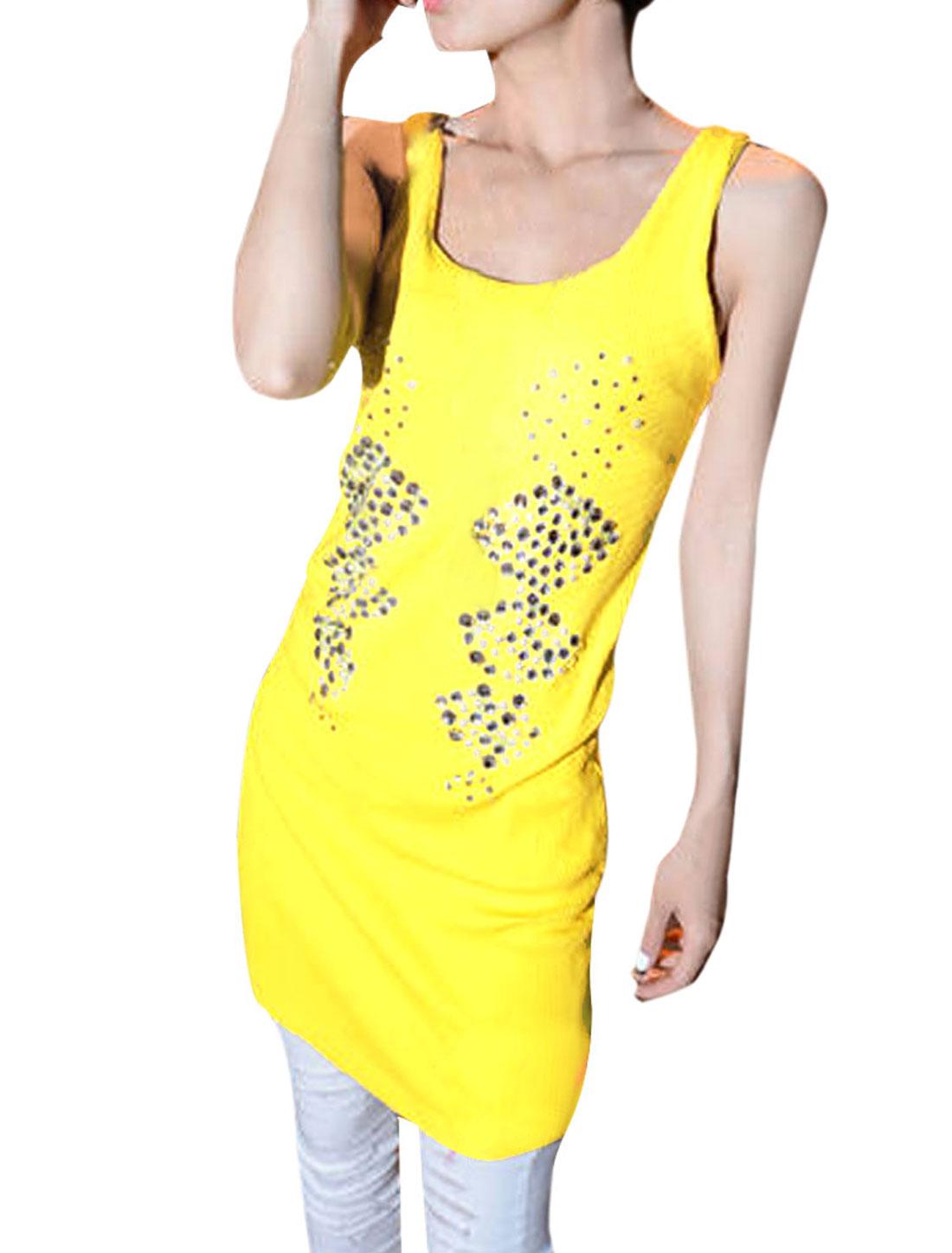Ladies Scoop Neck Plastic Crystal Decor Front Slim Fit Yellow Tank Mini Dress XS