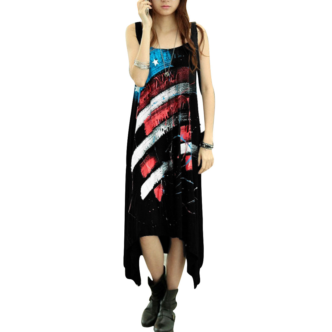 Women Flag Pattern Scoop Neck Sleeveless Style Graffiti Design Dress Black L