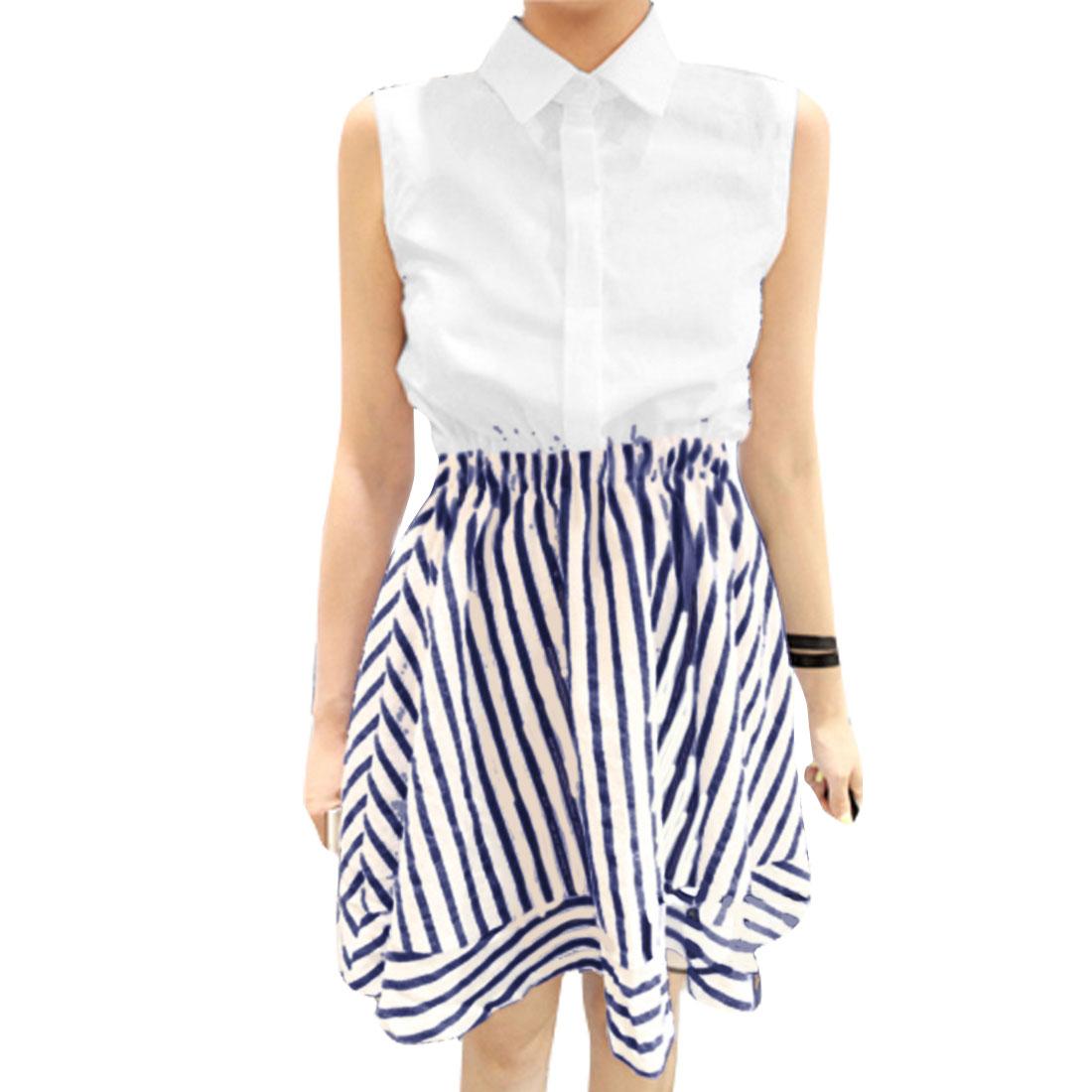 Lady Sleeveless Button Hidden Front Stripes Pattern White Navy Blue Dress XS