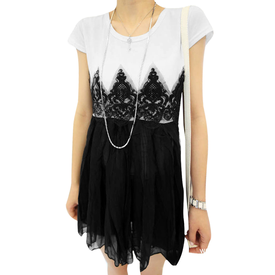 Women Round Neck See Through Cap Sleeves Lace Modern Dress White Black XS