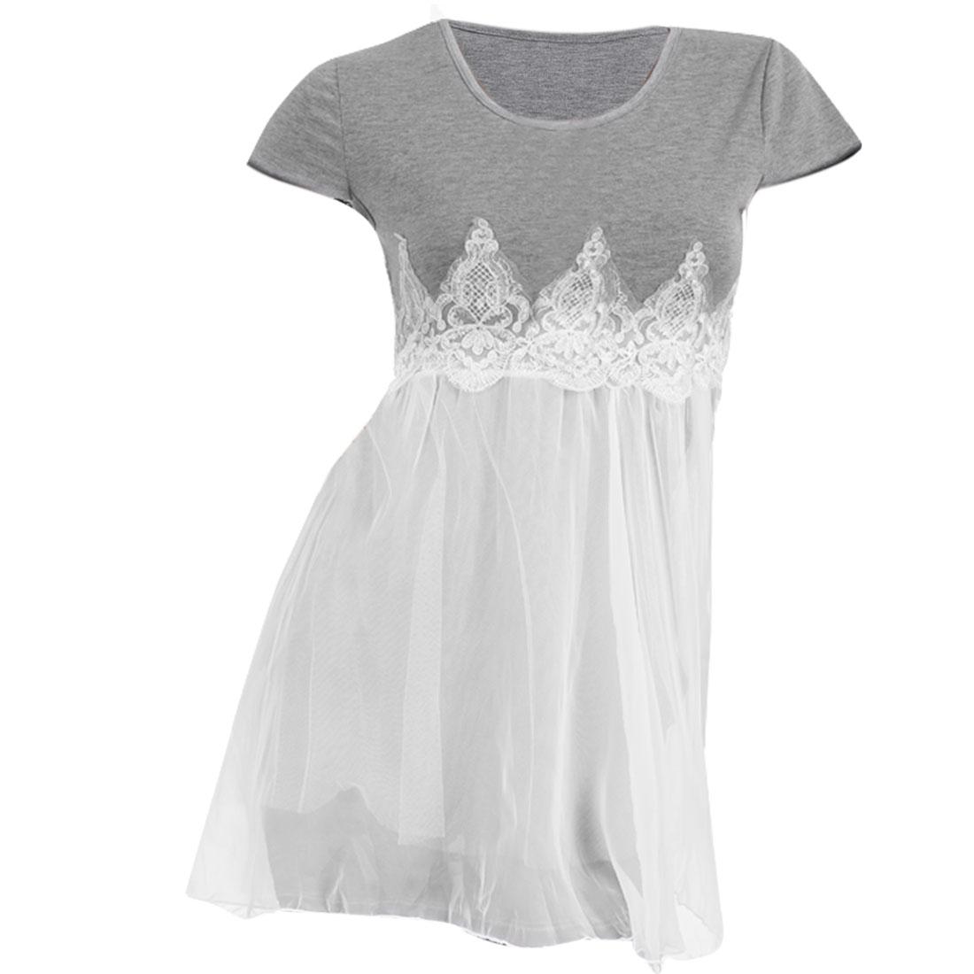 Lady See-through Spliced Mesh Short Sleeve Sexy Dress Gray White XS