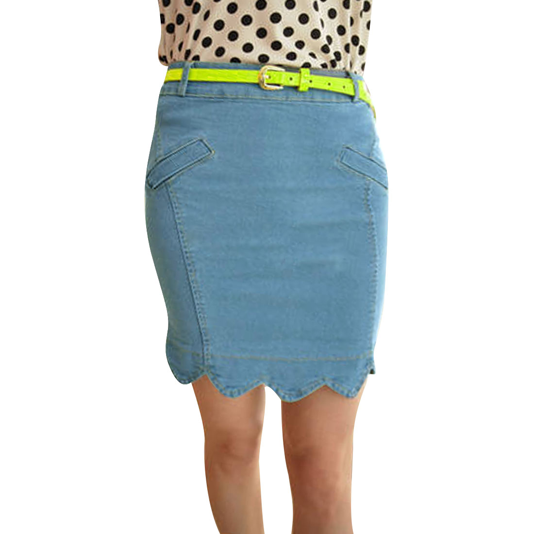 Women Sky Blue Xs Scalloped Hem Belt Loop Zipper Fly Summer Denim Skirt