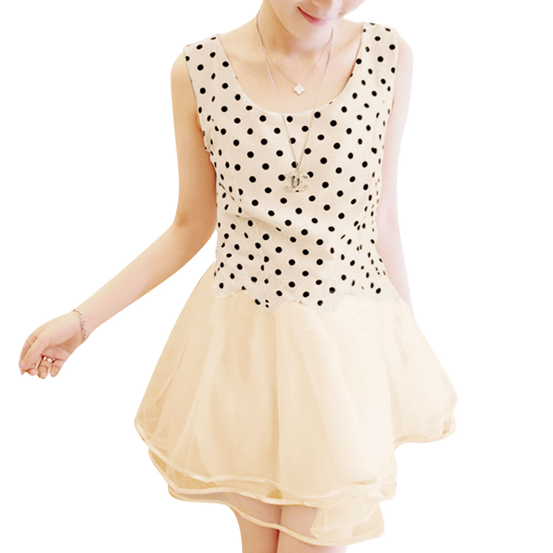 Ladies Round Neck Sleeveless Dots Flounced Hem Dress Beige XS