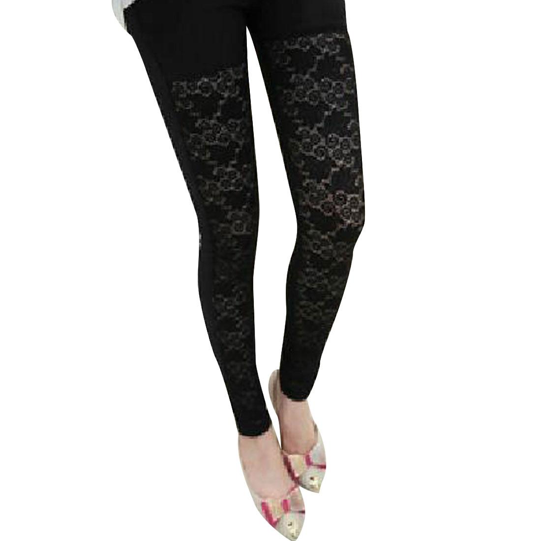 Ladies Hip Pockets Crochet Lace Splice Cropped Pants Black XS