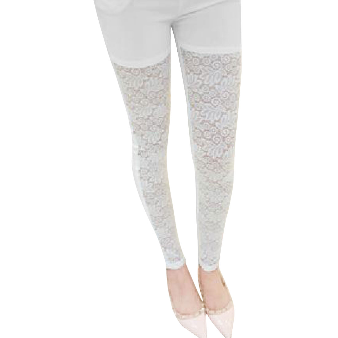 Ladies Elastic Waist Crochet Lace Panel Cropped Pants White XS