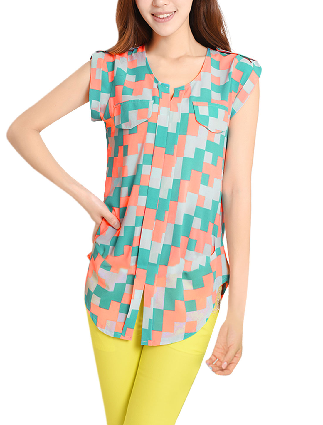 Ladies Split Neck Cap Sleeve Geometric Pattern Sea Green Orange Tunic Tops S