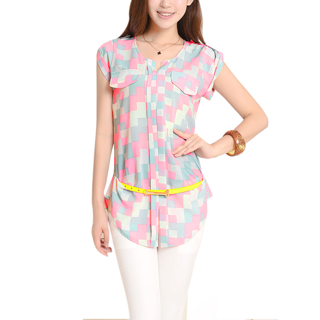 Women Button-Tab Epaulets Shoulder Geometric Pattern Hot Pink Light Gray Top S