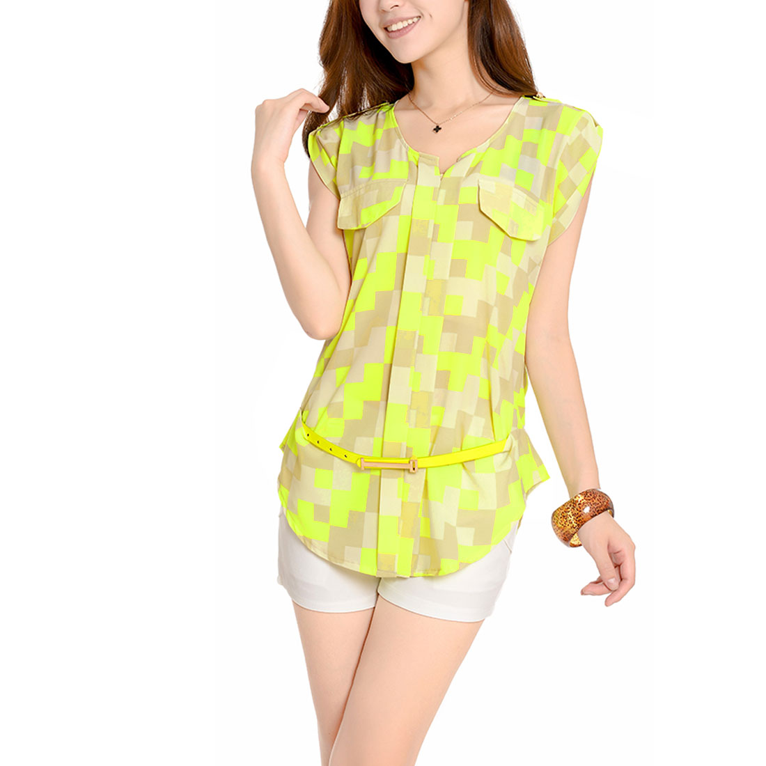 Woman Split Neck Cap Sleeve Geometric Pattern Lime Beige Tunic Tops S