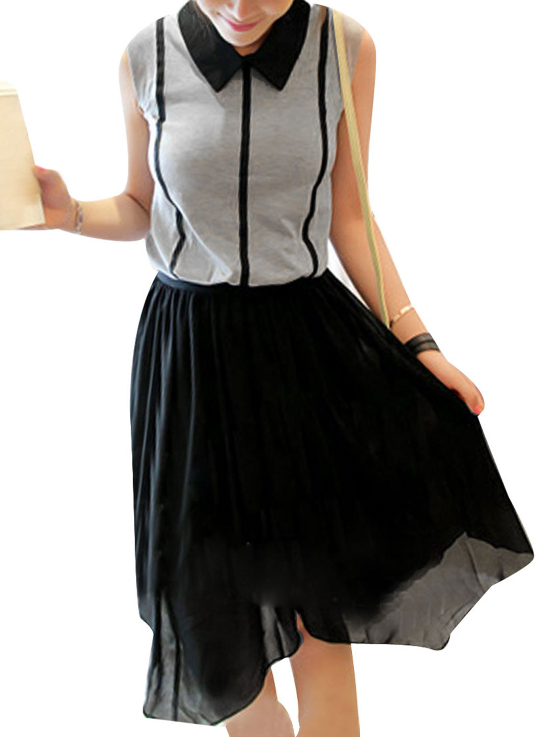 Lady Stylish Semi-sheer Doll Collar Pleated Dress Heather Gray Black XS
