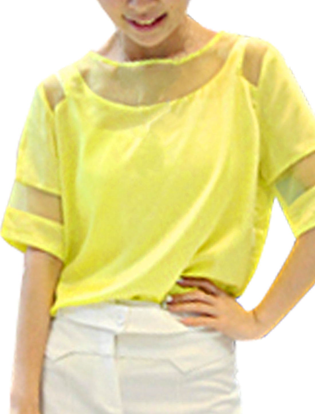 Ladies Round Neck Short Sleeve Patchwork Top Shirt Yellow XS