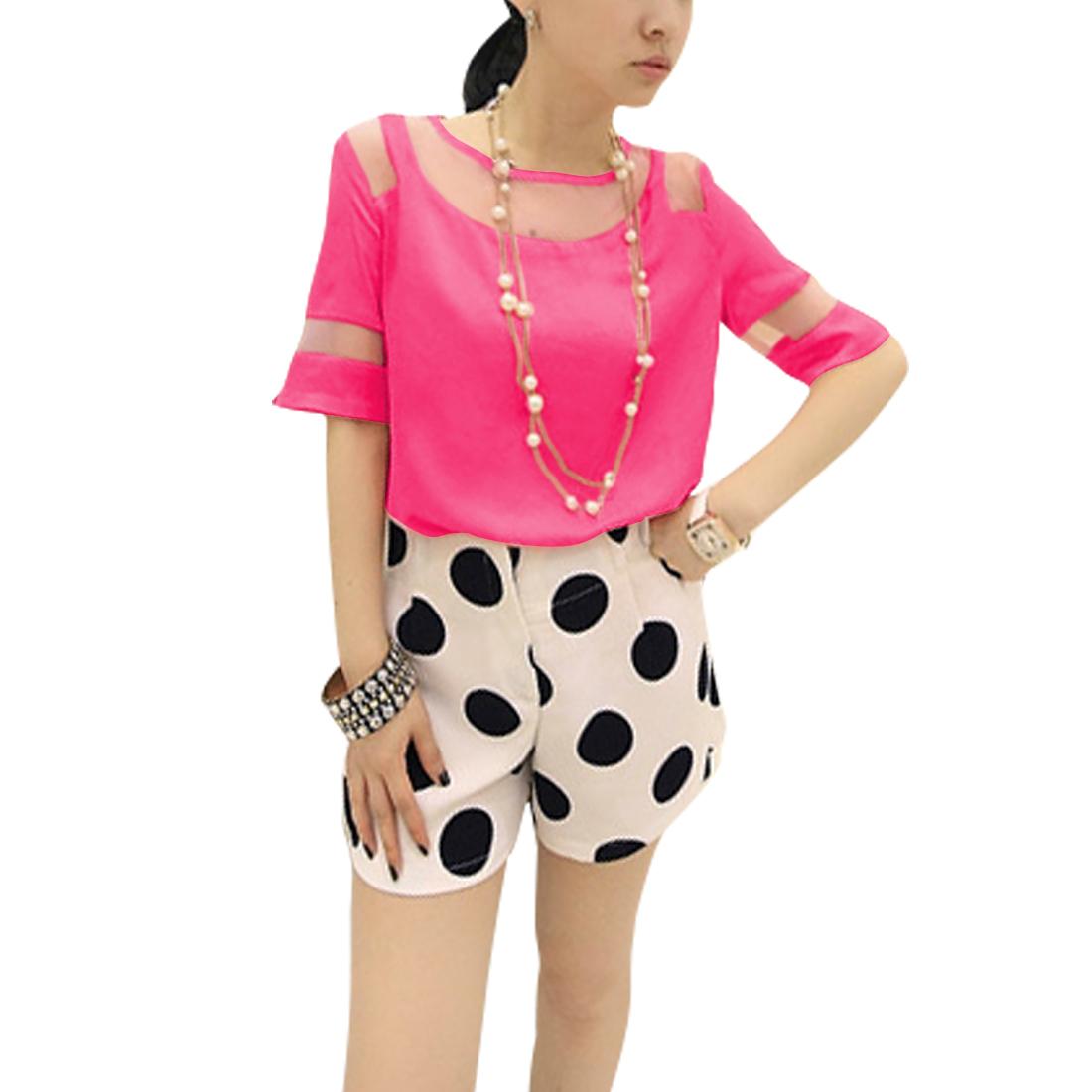 Ladies Round Neck Pullover Short Sleeve Semi Sheer Top Shirt Fuchsia XS