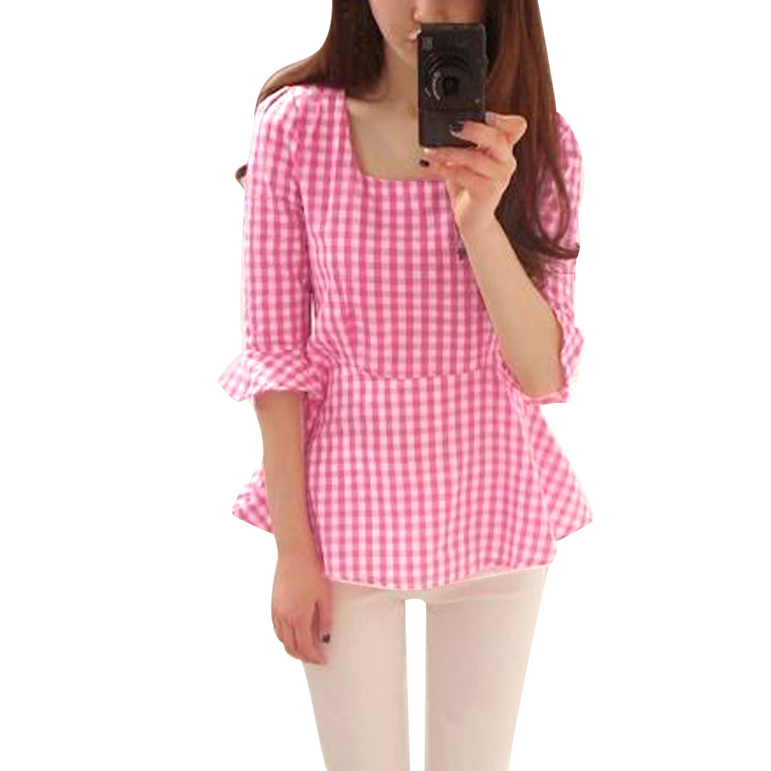 Woman Round Neck Half Length Bell Sleeve Hot Pink White Plaids Peplum Tops XS