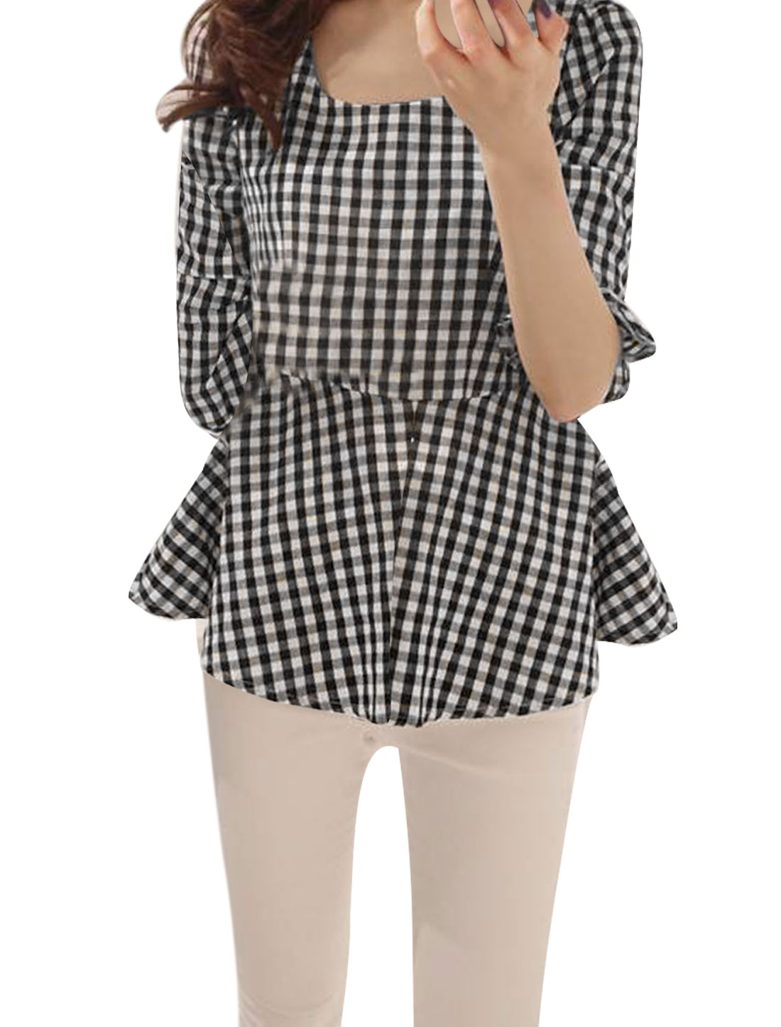Ladies Round Neck Elbow Bell Sleeve Black White Check Pattern Peplum Tops XS