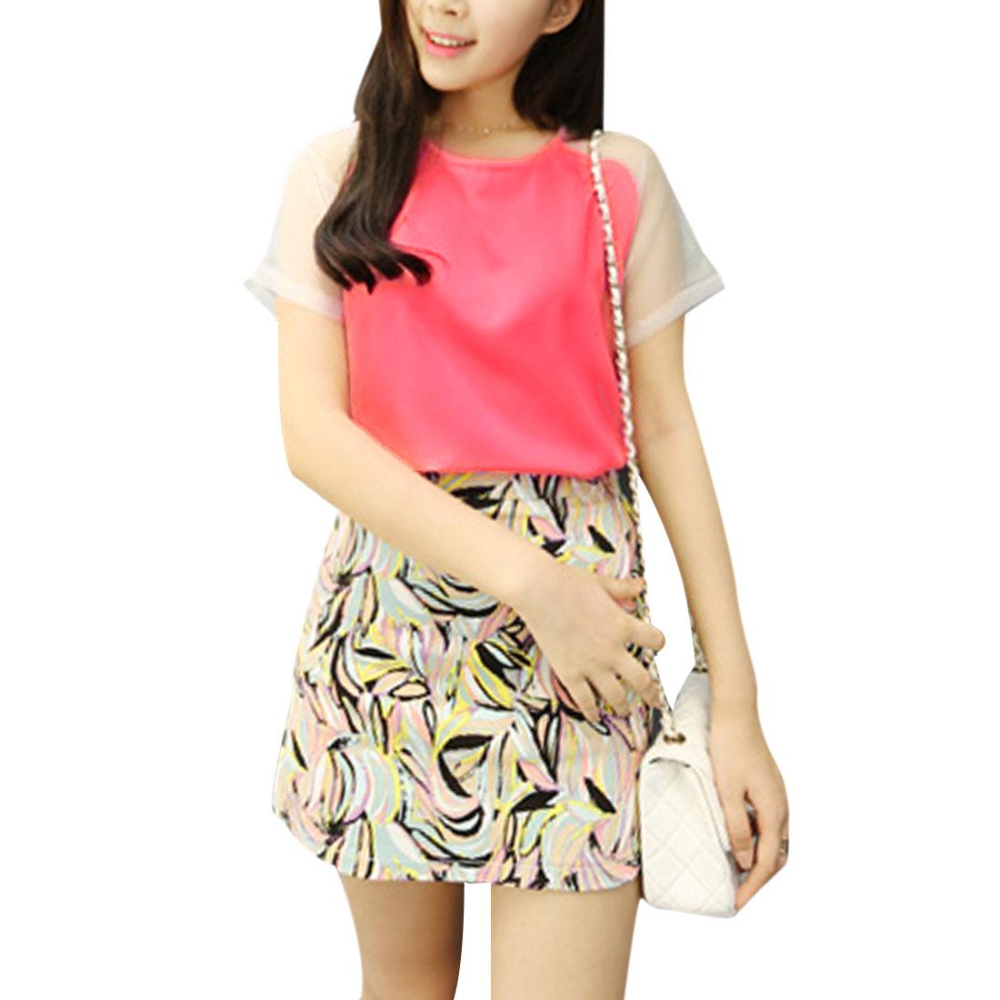 Ladies Chic Round Neck Semi-Sheer Mesh Short Raglan Sleeve Pink Casual Tops XS