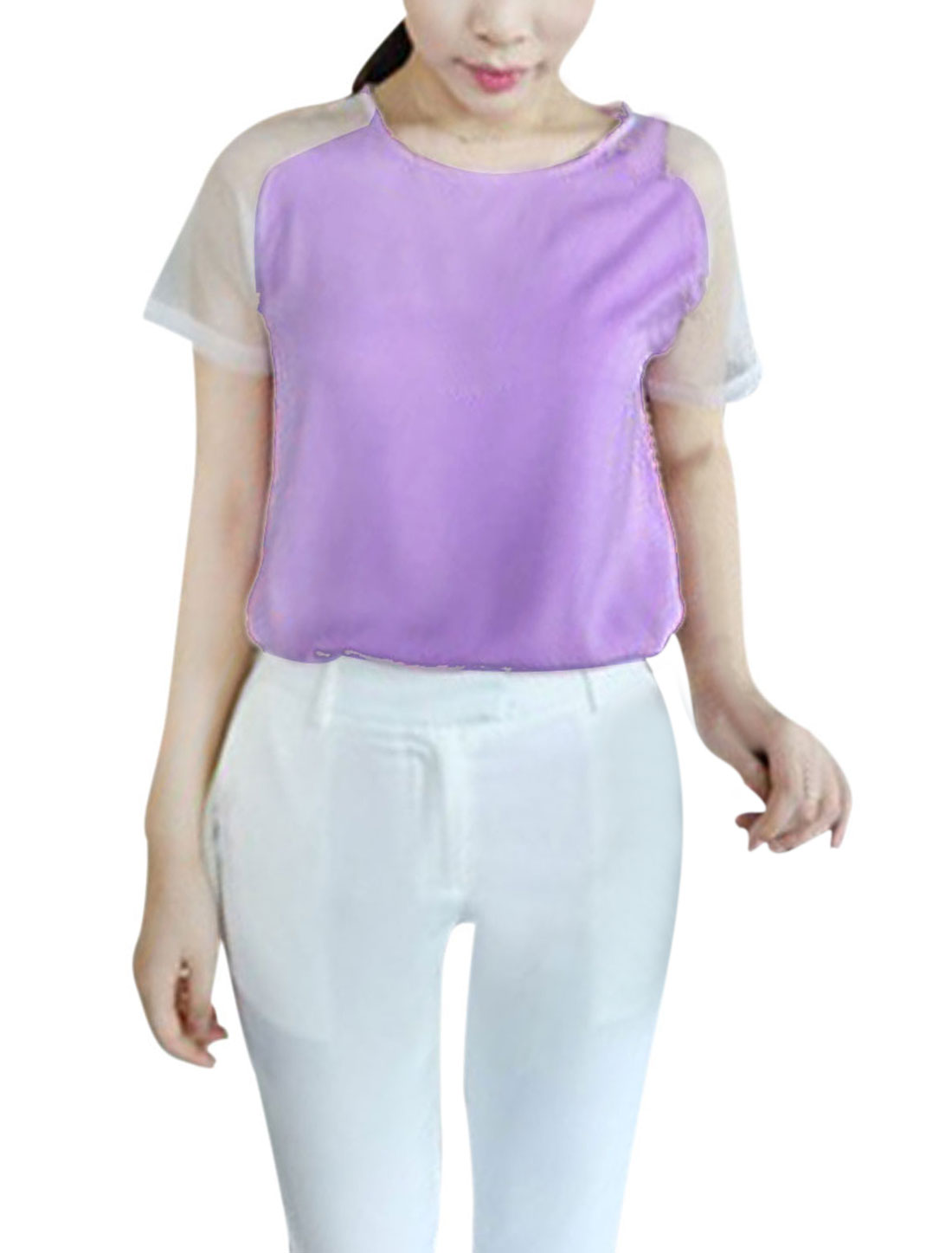 Woman Newly Round Neck Semi-Sheer Mesh Raglan Sleeve Lavender Casual Blouse XS