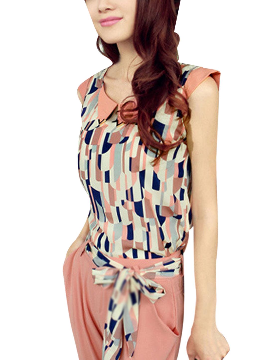 Women Sleeveless Design Round Neck Novelty Pattern Leisure Blouse Pink S
