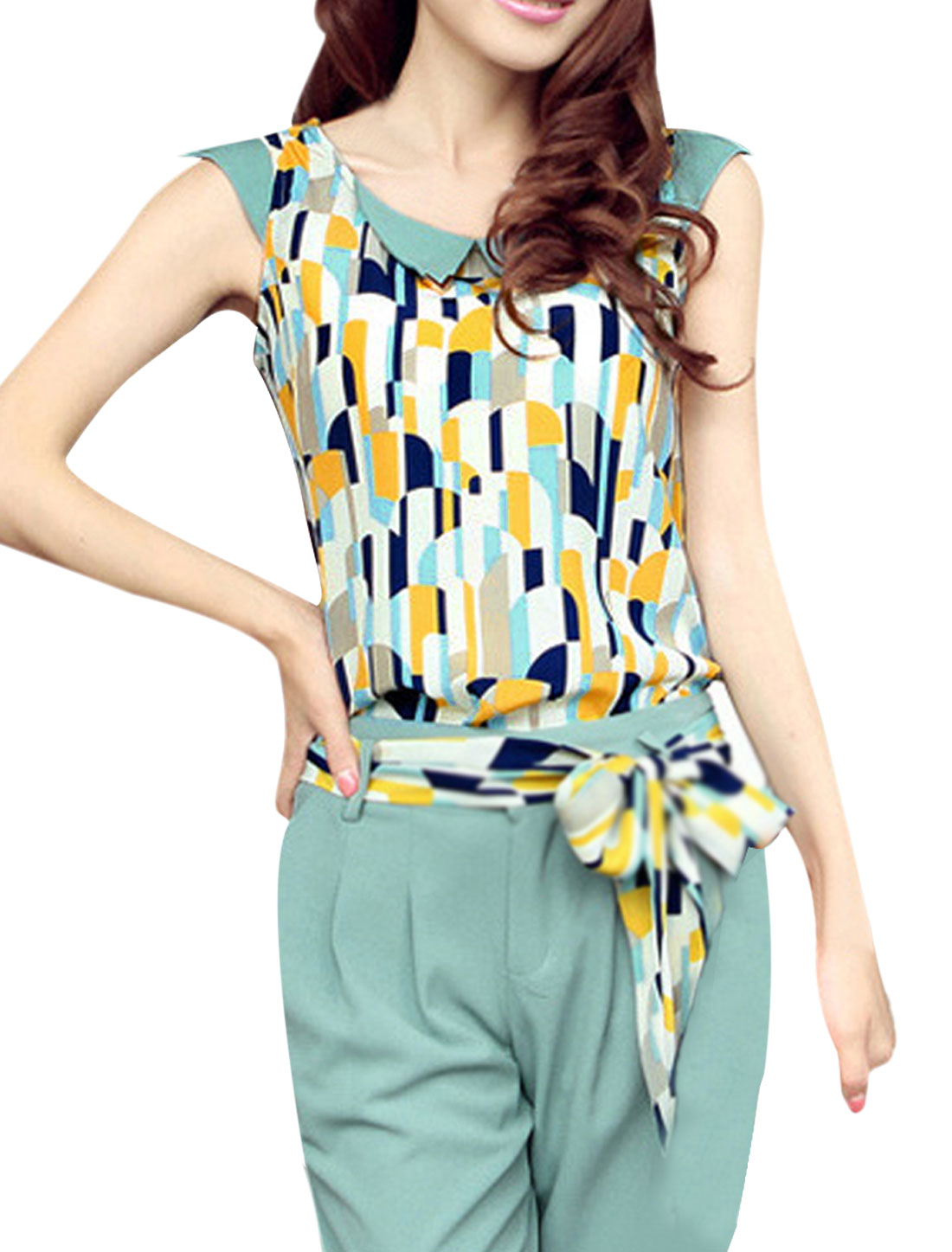 Blue S LadiesSleeveless Round Neck Skinny Fit Summer Casual Blouse