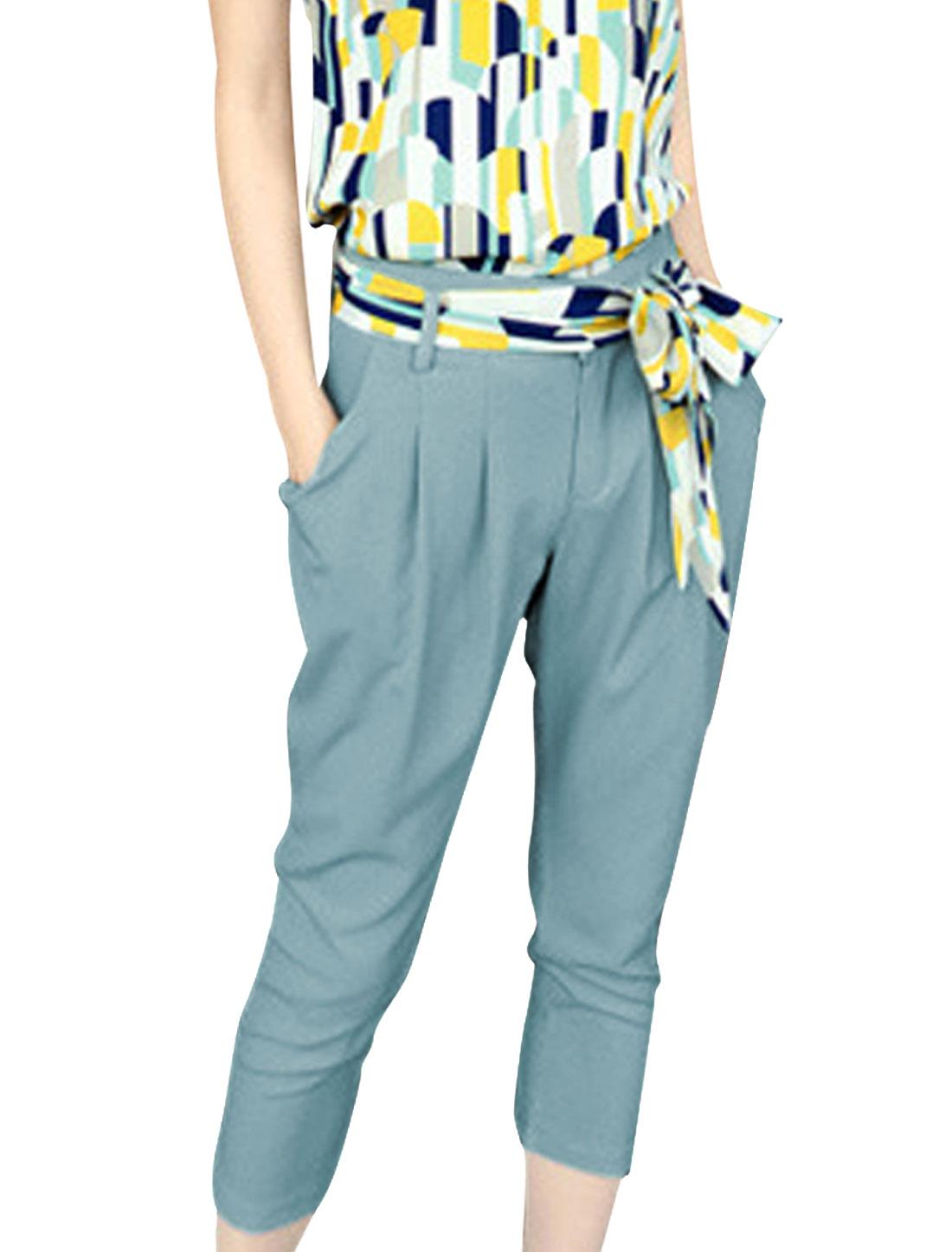Ladies Zip Closure Fake Hip Pockets Capris Pants Teal XS