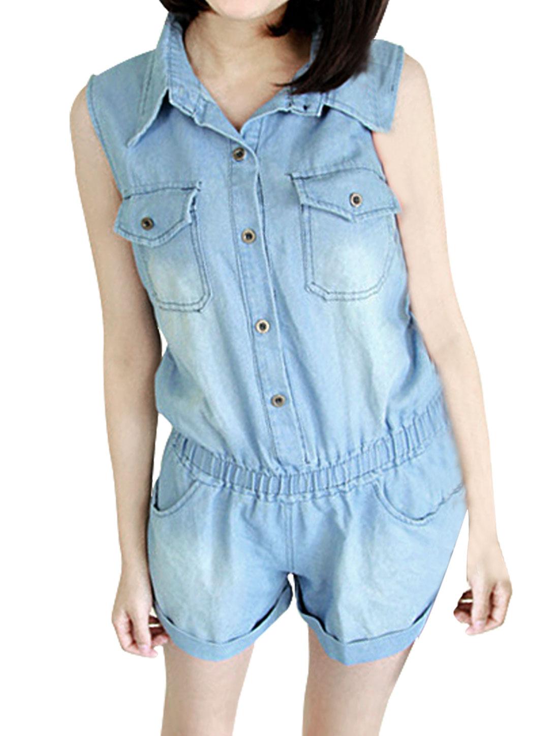 Women Chest Pockets Point Collar Elastic Waist Romper S Light Blue